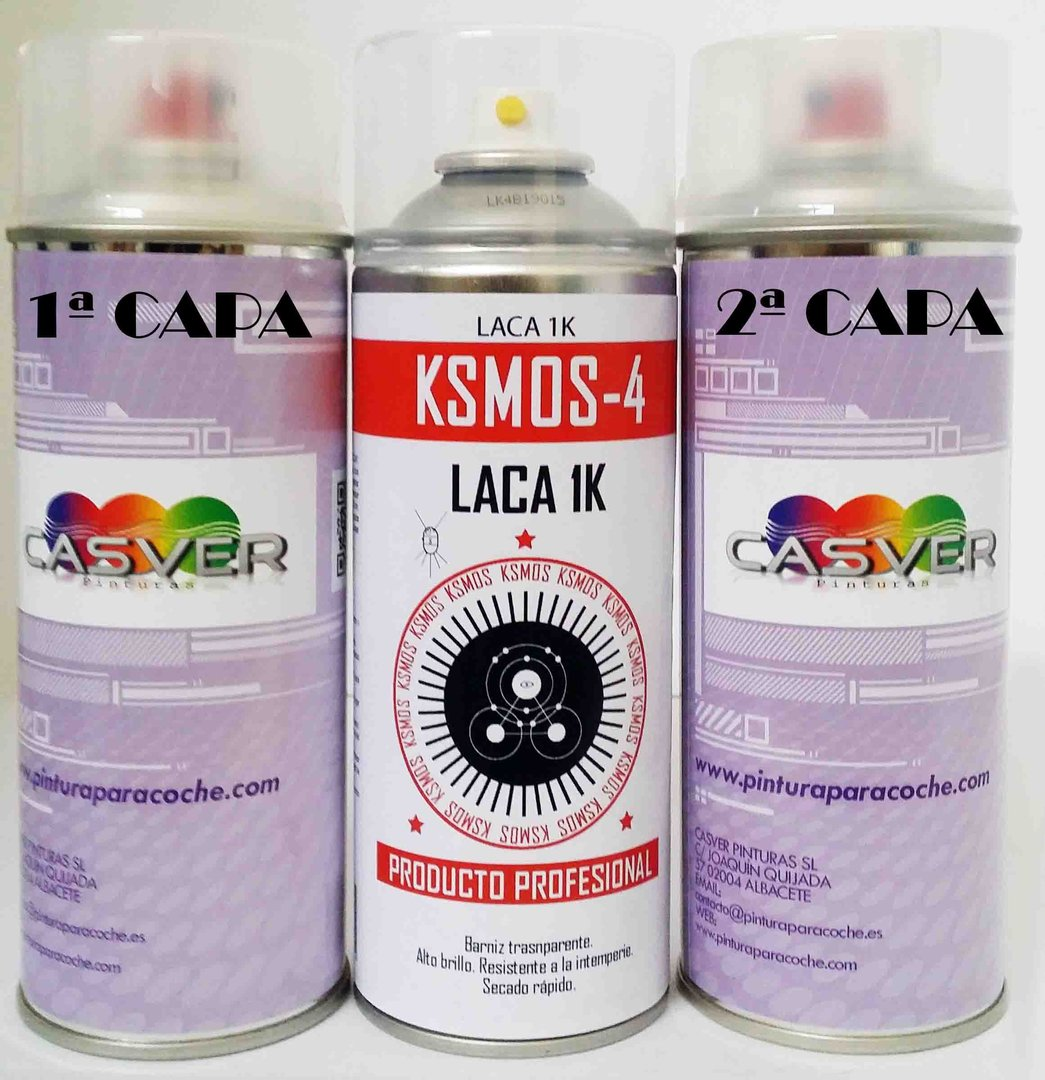 Kit Spray Pintura Tricapa + barniz 400ml
