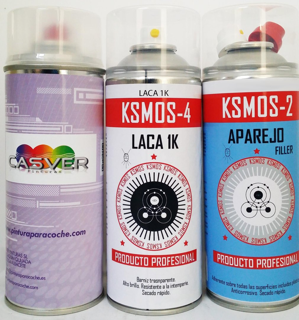 Kit pintura 400ml + barniz 400ml + aparejo 400ml spray