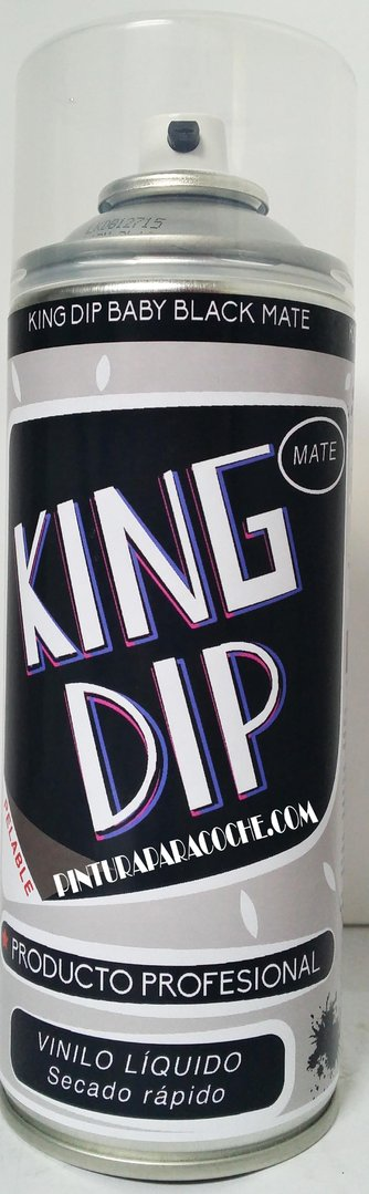 Spray Pintura King Dip Vinilo Negro Mate 400ml.