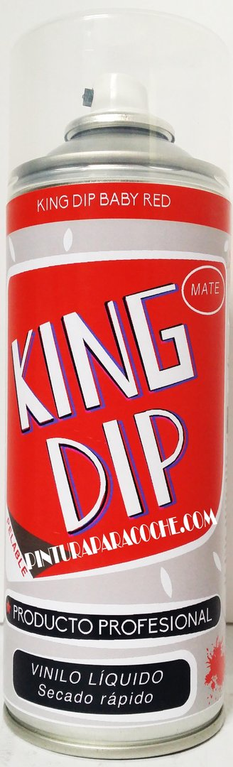 Spray Pintura King Dip Vinilo Rojo Mate 400ml.