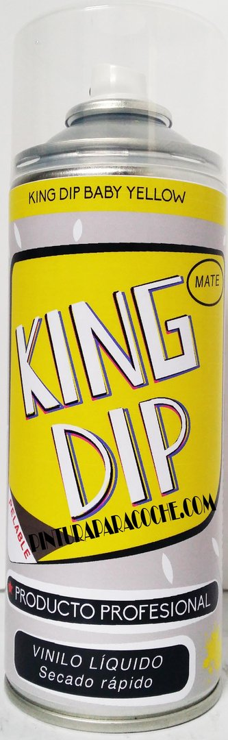 Spray Pintura King Dip Vinilo Amarillo Mate 400ml.