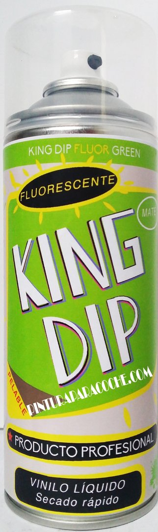 Spray Pintura King Dip Vinilo Verde Fluorescente Mate 400ml.