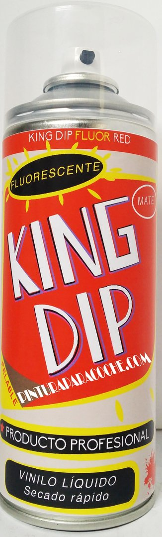 Spray Pintura King Dip Vinilo Rojo Fluorescente Mate 400ml.