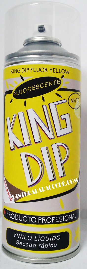 Spray Pintura King Dip Vinilo Amarillo Fluorescente Mate 400ml.