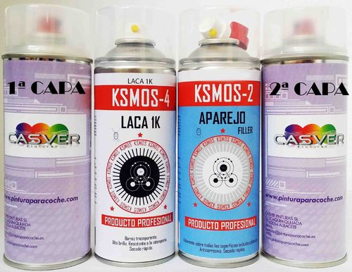 Kit Spray Pintura Tricapa + barniz + aparejo 400ml